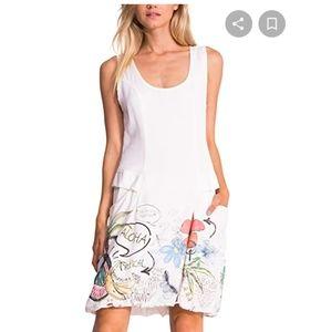 Desigual zip back pocket Aloha Scribble dress 40